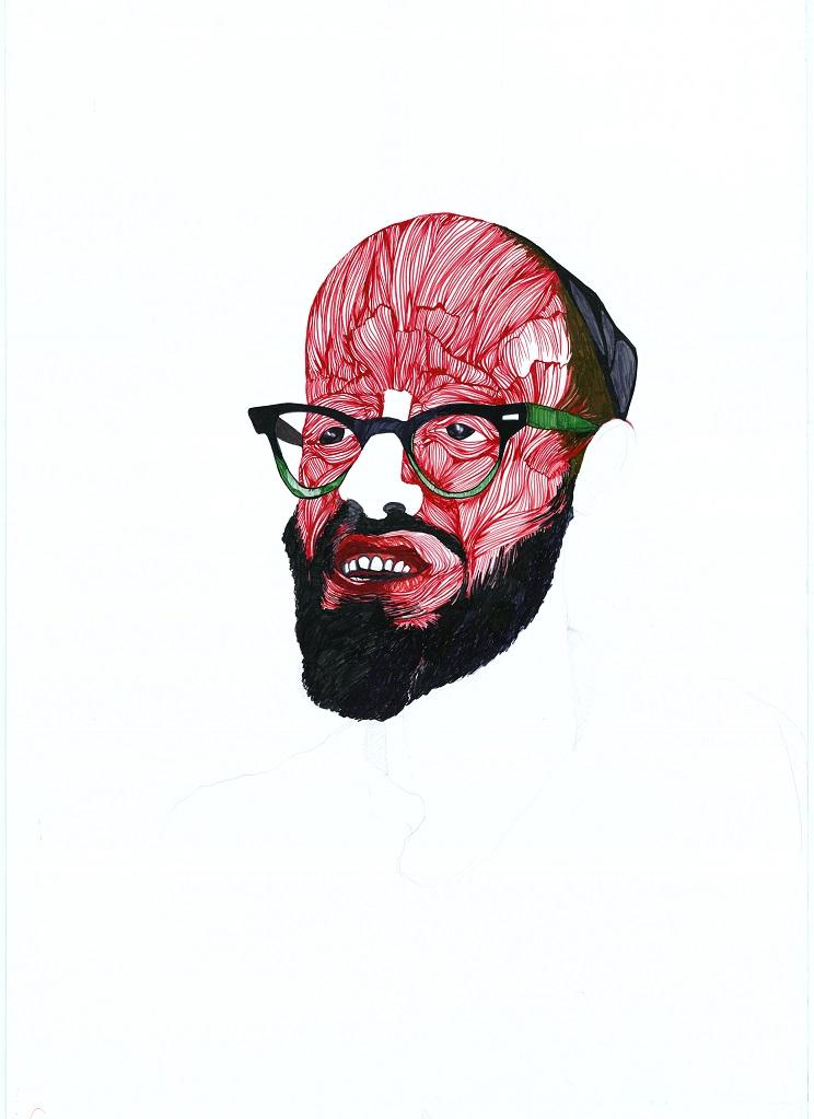רעיה ברוקנטל, בשר ודם- לוינגר, רישום טוש על נייר, 2005 Raya Bruckenthal, Flesh and blood, Marker on