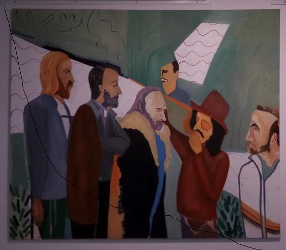 שרה בנינגה, מועצת החכמים, שמן על בד 200_150, 2017 Sarah Benninga,  Council of Experts, Oil on canvas