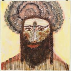 אסתר שניידר, רב מדומיין, צבעי מים ודיו על נייר, 68_68, 2012 Ester Schneider, An imaginary rabbi, Wat