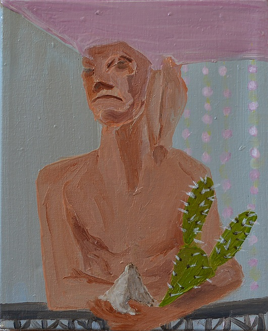 שמעון פינטו, חוזה מדינת האמנות, שמן על בד גודל 20_23, 2010 Shimon Pinto, The dreamer of the art stat