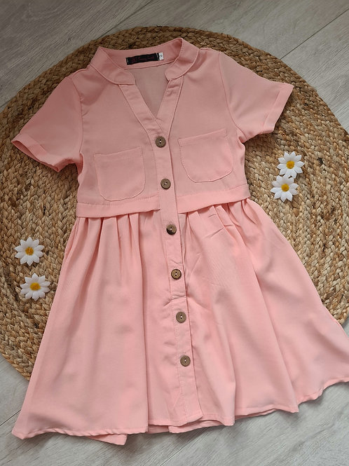 Pink shirt style pocket dress
