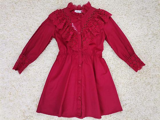Red Lace Shirt Dress