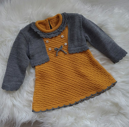 Mustard knitted dress and cardigan