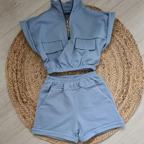 Blue zipped crop and shorts