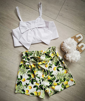Bow crop and lemon print Summer Set