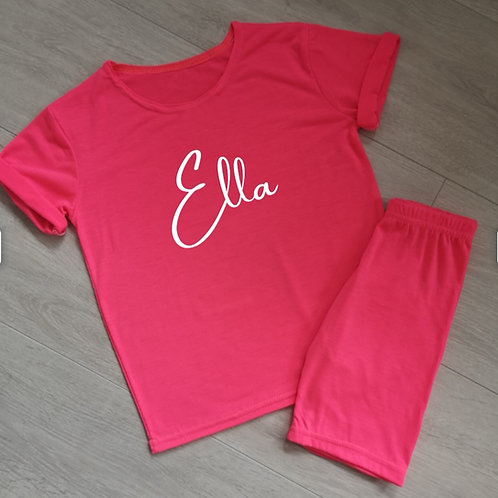 Neon Pink Top & Cycling Shorts