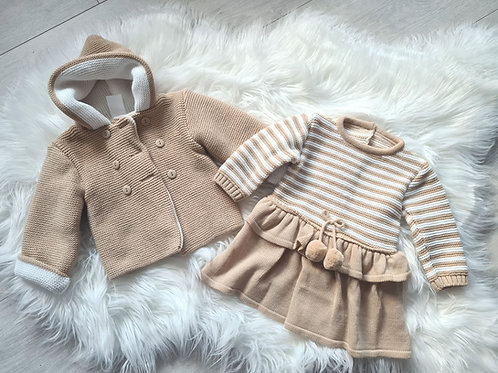 Tan knitted coat & dress