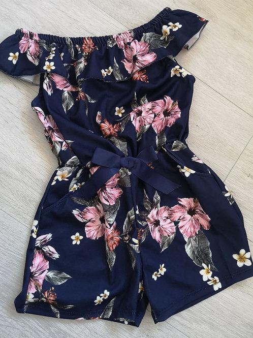Navy Floral Summer Playsuit