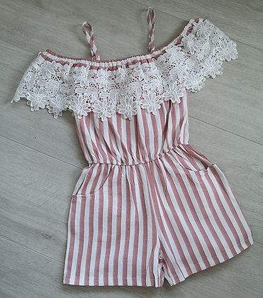 Pink striped off the shoulder playsuit