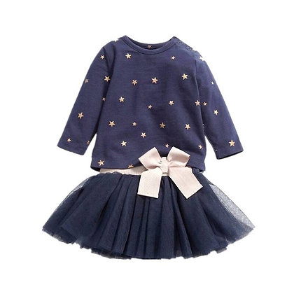 Navy Star Print Top & Tutu