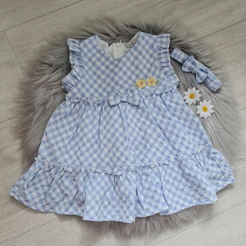 Blue gingham summer dress & headband