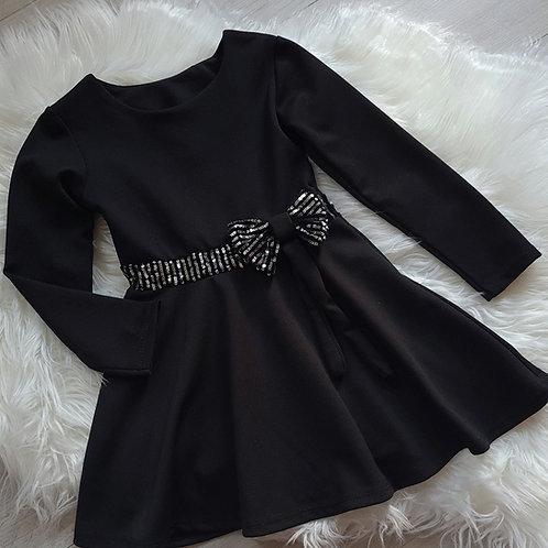 Black Glitter Bow Dress