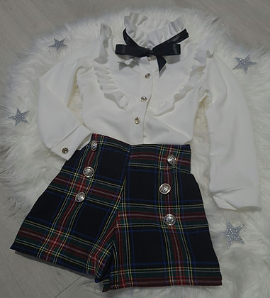 Black Tartan Shorts & Ruffle Shirt