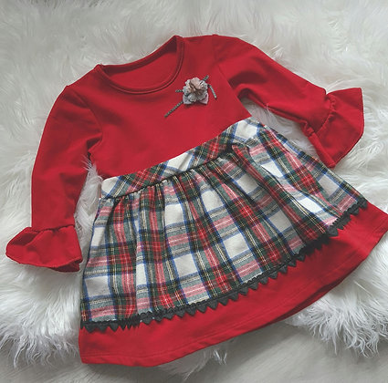 Red and White checked Ruffle Dress