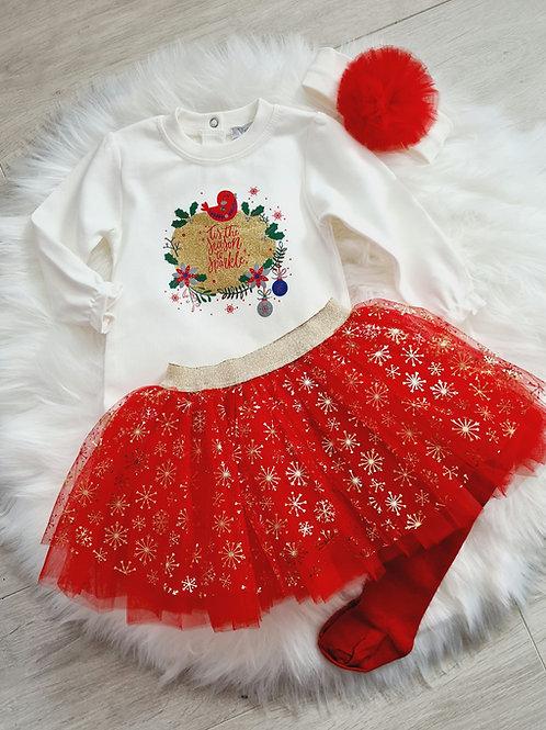 Tis the season to sparkle white & red 4 piece set