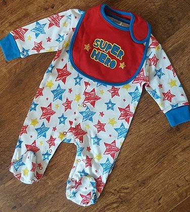 Baby Boys Superhero Sleepsuit