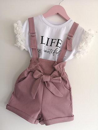 Dusky pink short dungaree set