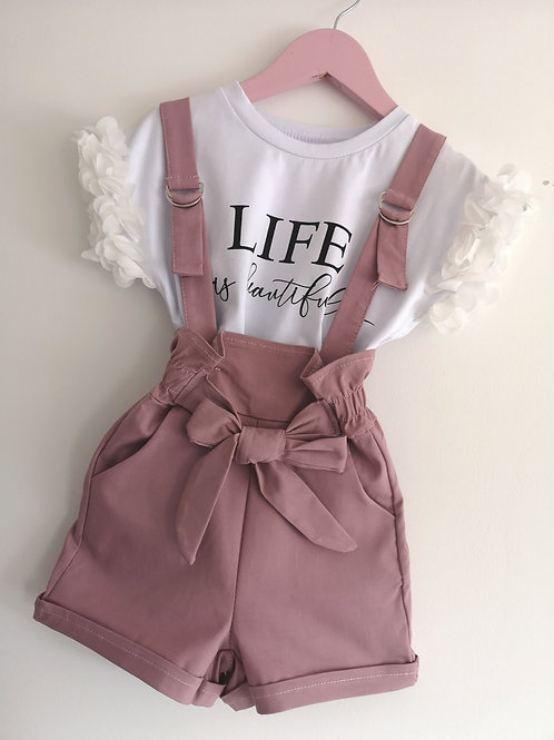 Dusky pink short dungaree set