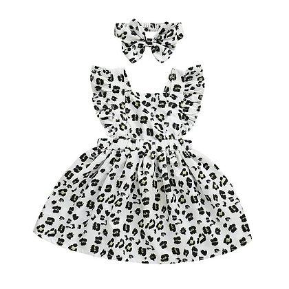 White Animal Print Dress and Headband
