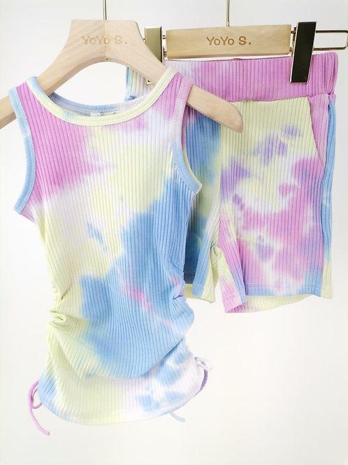 Pink / purple tie dye ruffle top & shorts