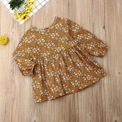 Mustard Floral Long Sleeved Dress