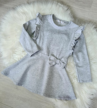 Grey Ruffle Bow Dress