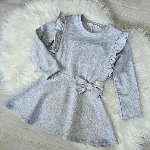Grey Ruffle Bow Dress