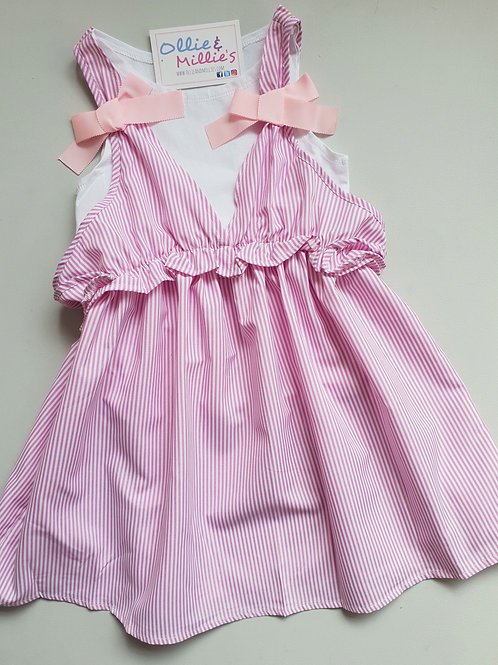Pink Striped Bow Dress