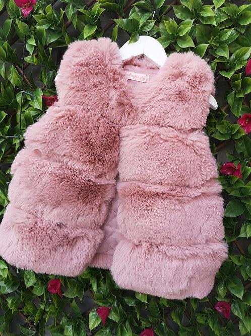 Dusky Pink Soft Faux Fur Gillet