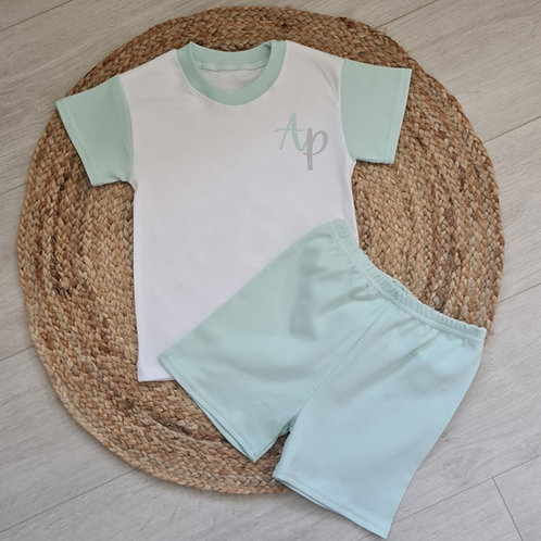 Embroidered mint initial summer set