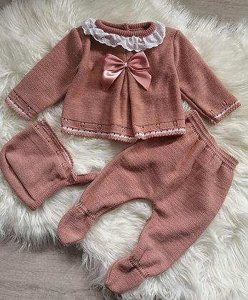 Dusky Pink Knitted 3 Piece Set