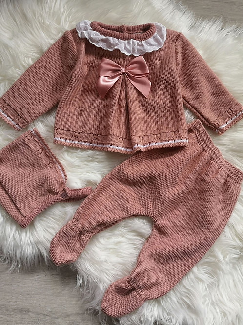 Dusky Pink Knitted 3 Piece Set