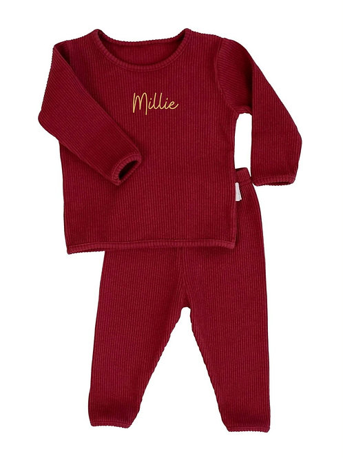 Adult claret personalised luxury ribbed lounge wear