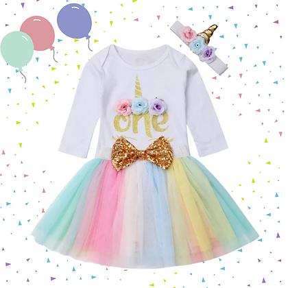 Unicorn 'ONE' birthday set