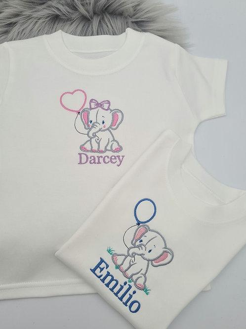 Embroidered Personalised elephant tee