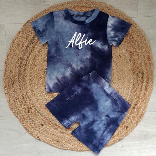Personalised blue tie dye summer set
