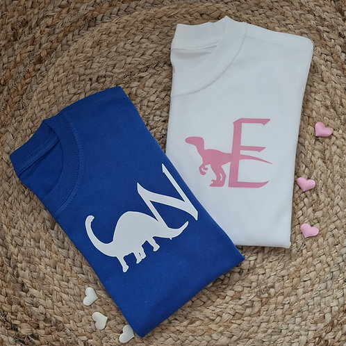 Ollie&Millie's Own - Personalised Dino Initial Tee