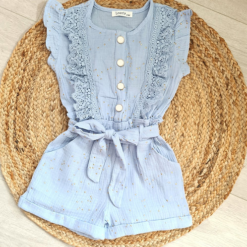 Blue ruffle playsuit with gold shimmer