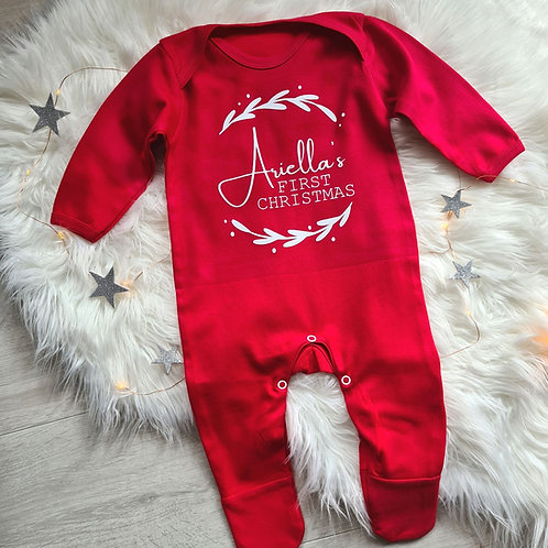 Ollie&Millie's Own - Personalised First Christmas Wreath Romper