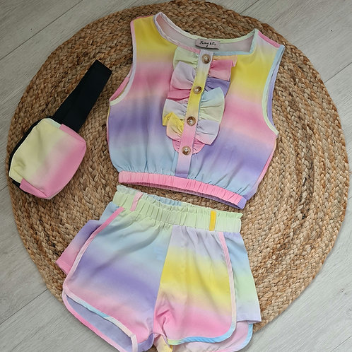 Pink/purple tie dye crop & shorts
