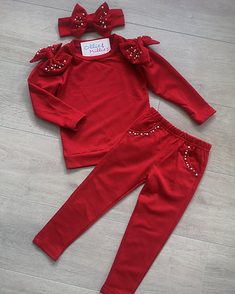 Red Beaded Lounge Set