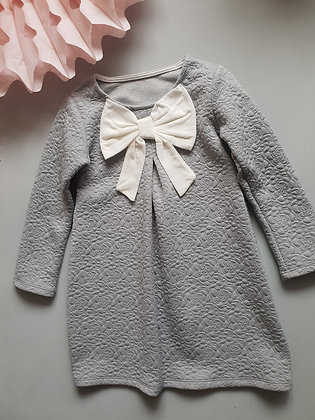 Grey quilted bow dress