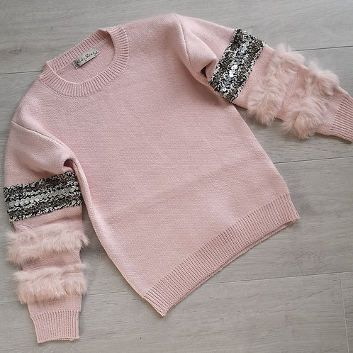 Pink knitted sequin jumper