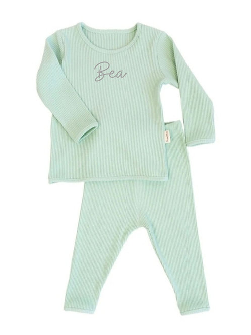 Mint embroidered personalised luxury ribbed lounge wear