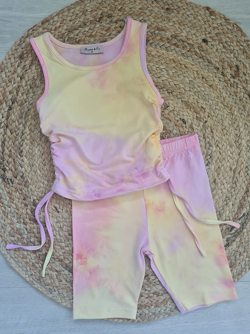 Tie dye side ruffle top & shorts