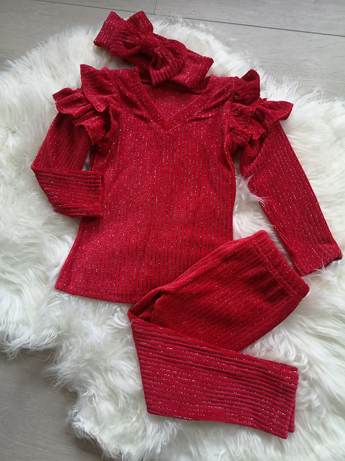 Red glitter ribbed set