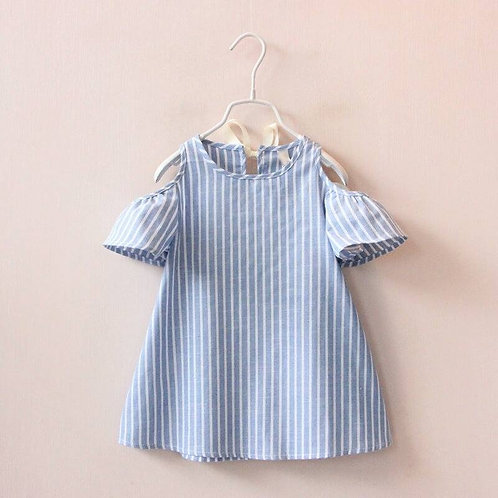 Girls Cold Shoulder Blue Striped Dress