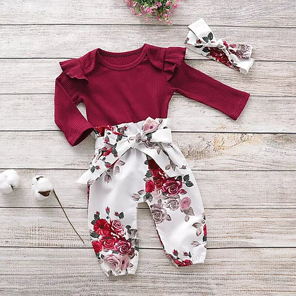 Red Floral 3 Piece Set