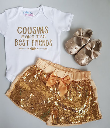 Gold Glitter Sequin Shorts