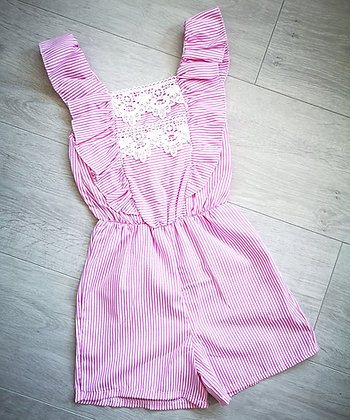 Pink Striped Bow Playsuit